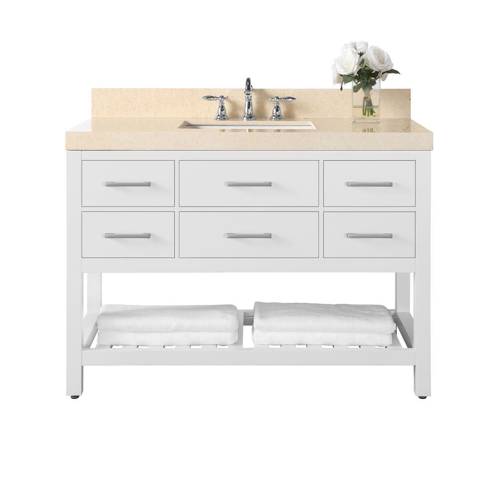 Elizabeth 48 in. W x 22 in. D Bath Vanity in Whitewith Marble Vanity Top in Galala Beige with White Basin