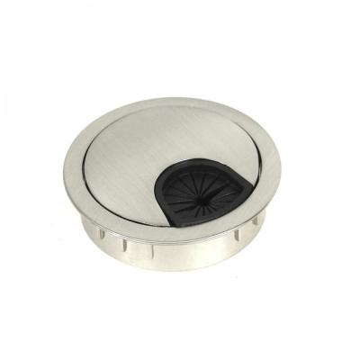 Kingsman Round Series 2-5/8 in. Dia Brushed Nickel Wire Cable Grommet with Cover (2-Pack)