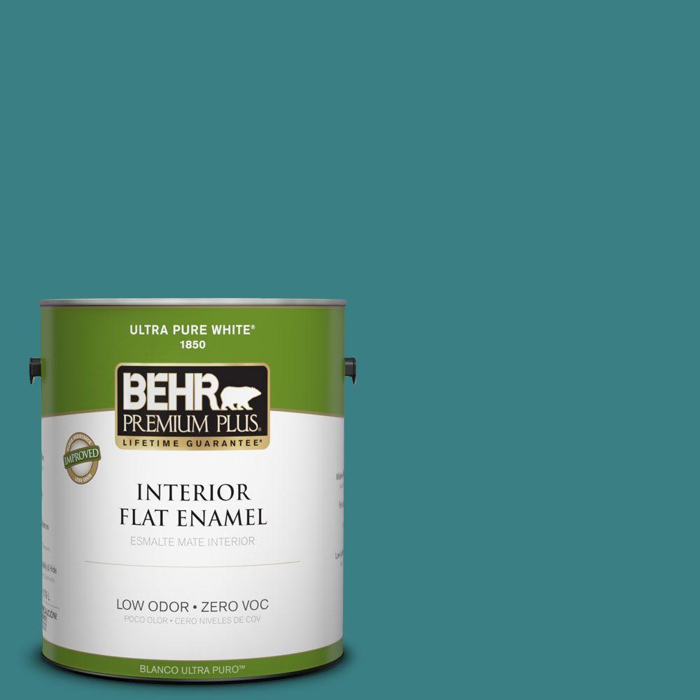 BEHR Premium Plus 1-gal. #510D-7 Pacific Sea Teal Zero VOC Flat Enamel Interior Paint-DISCONTINUED
