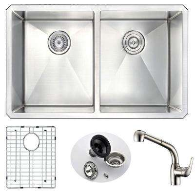 VANGUARD Undermount Stainless Steel 32 in. Double Bowl Kitchen Sink and Faucet Set with Harbour Faucet in Brushed Nickel