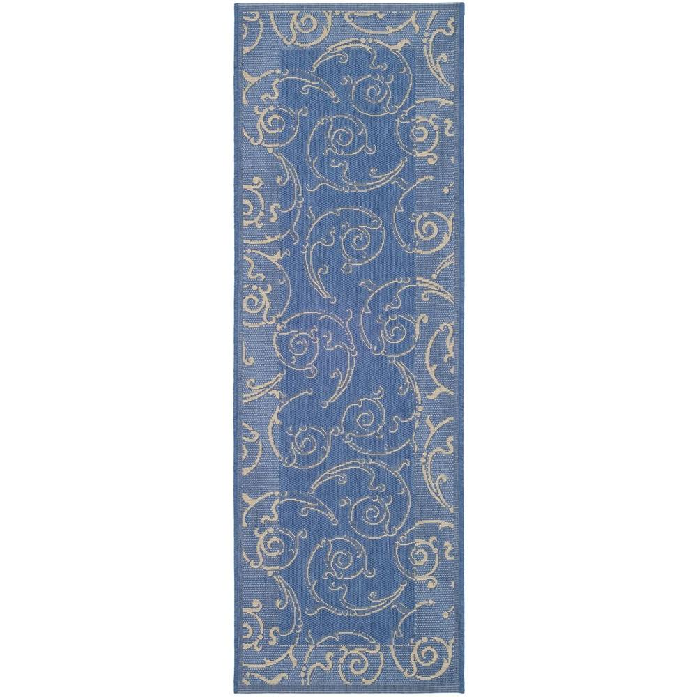 a8808d005b2 Safavieh Courtyard Blue Natural 2 ft. x 10 ft. Indoor Outdoor Runner ...