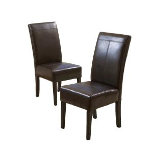 Pertica Brown Leather T-Stitch Dining Chairs (Set of 2)