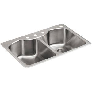 kohler verse dropin stainless steel 33 in 4hole double basin kitchen the home depot