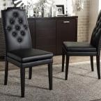 Dylin Black Faux Leather Upholstered Dining Chairs (Set of 2)