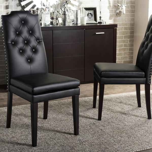Baxton Studio Dylin Black Faux Leather Upholstered Dining Chairs (Set of