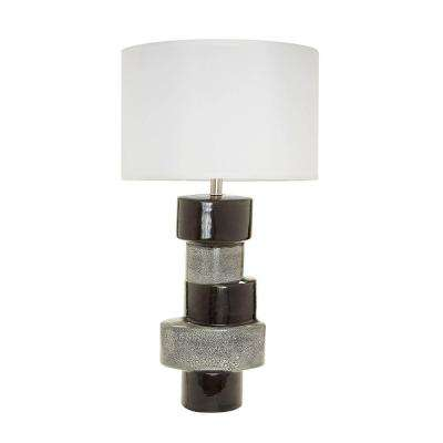 Stacked Oval 32 in. Gray and Black Table Lamp