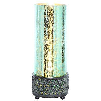 12.9 in. Teal Accent Lamp with Round Studio Art Mercury Glass Shade
