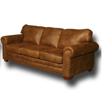 Buckskin Series Brown Pinto Lodge Style Sofa with Nail Head Accents
