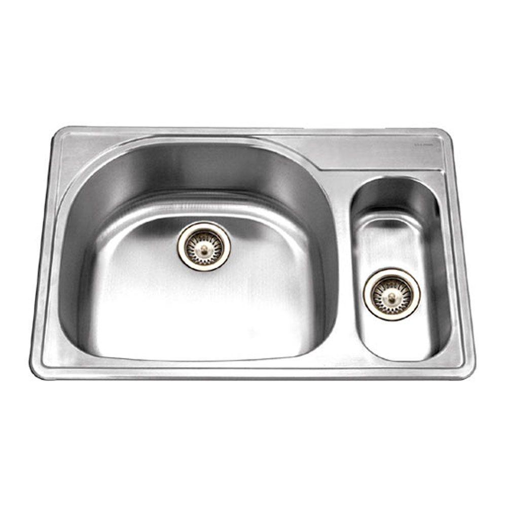 HOUZER Premiere Designer Series Drop-In Stainless Steel 33 in. 1-Hole Double Basin Kitchen Sink