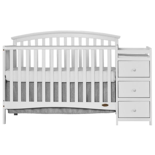 Dream On Me Niko White 5-In-1 Convertible Crib with Changer