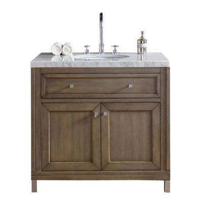 Chicago 36 in. W Single Vanity in Whitewashed Walnut with Marble Vanity Top in Carrara White with White Basin