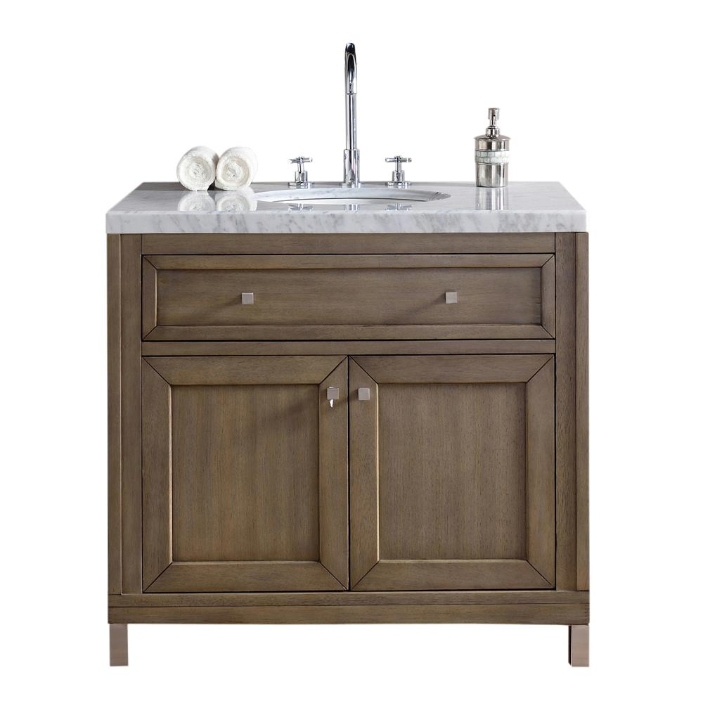 W Single Vanity In Whitewashed Walnut With Marble Top Carrara