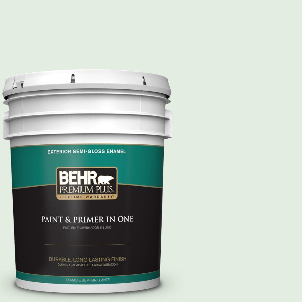 BEHR Premium Plus 5-gal. #460C-2 Spearmint Stick Semi-Gloss Enamel Exterior Paint
