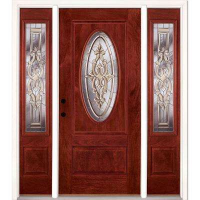 59.5 in.x81.625in.Silverdale Zinc 3/4 Oval Lt Stained Cherry Mahogany Rt-Hd Fiberglass Prehung Front Door w/ Sidelites