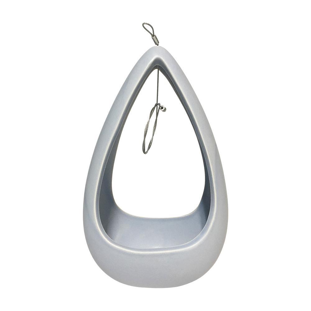Cone 8-1/2 in. x 5-1/4 in. Sky Ceramic Hanging Planter