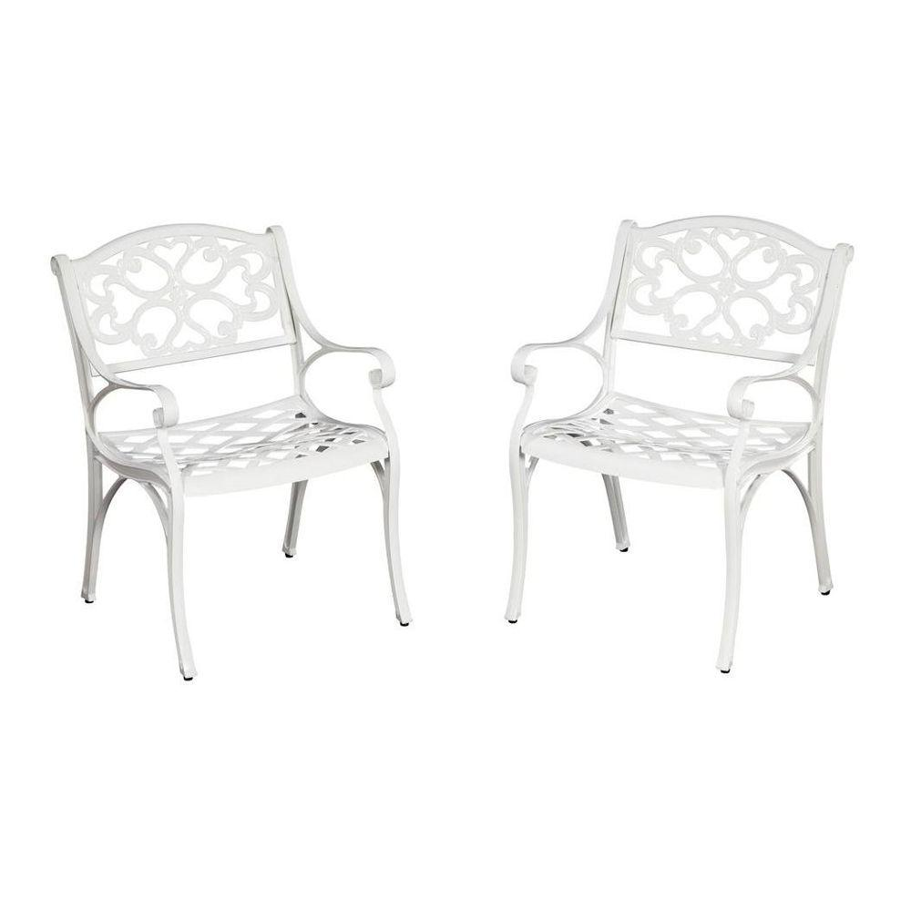 Home Styles Biscayne White Patio Dining Chair (2-Pack)