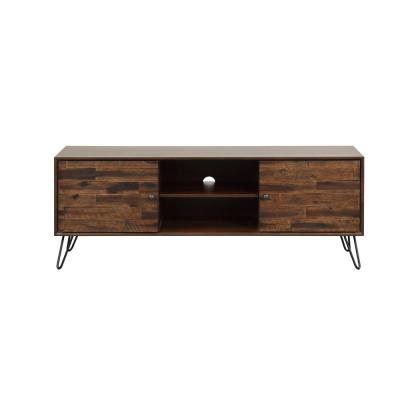 Galway 56 in. Dark Brown Wood TV Stand Fits TVs Up to 65 in. with Storage Doors