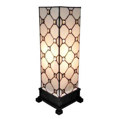 18 in. Tiffany Style and White Jewel Table Lamp