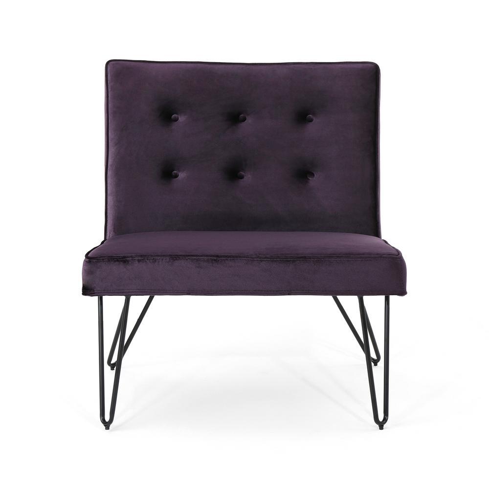 Darrow Modern Tufted Blackberry Velvet Armless Chair