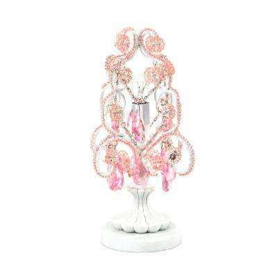 10 in. Pink Chandelier Mini Table Lamp
