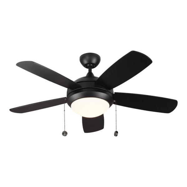 Discus Classic 44 in. Integrated LED Matte Black Ceiling Fan with 3000K Light Kit