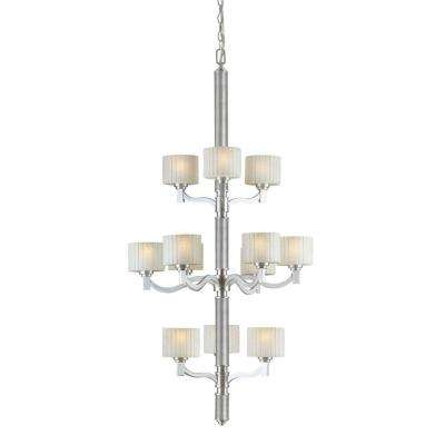 12-Light Brushed Nickel Chandelier with Umber Linen Glass Shade