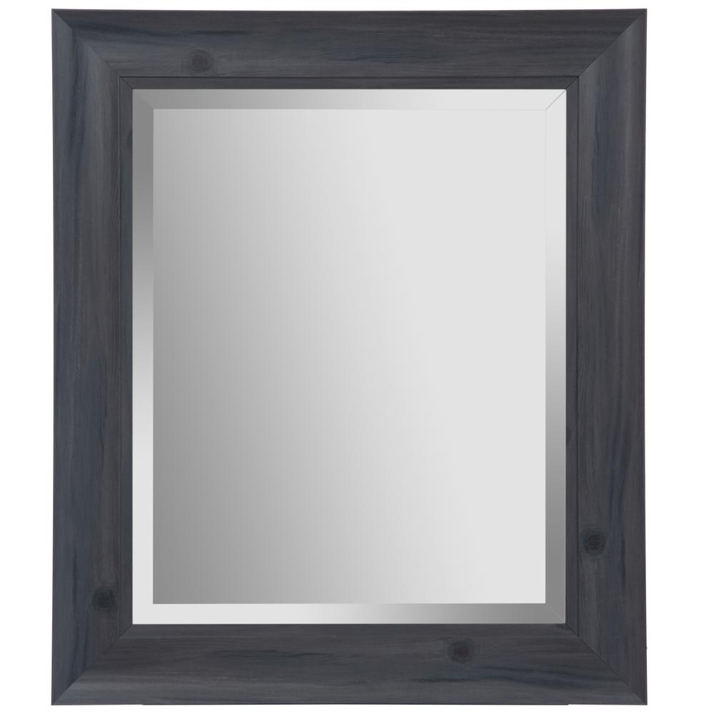 Scoop Framed Beveled Rectaungular Gray Decorative Mirror