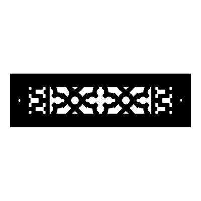 Scroll Series 10 in. x 2-1/4 in. Cast Iron Grille, Black with Mounting Holes