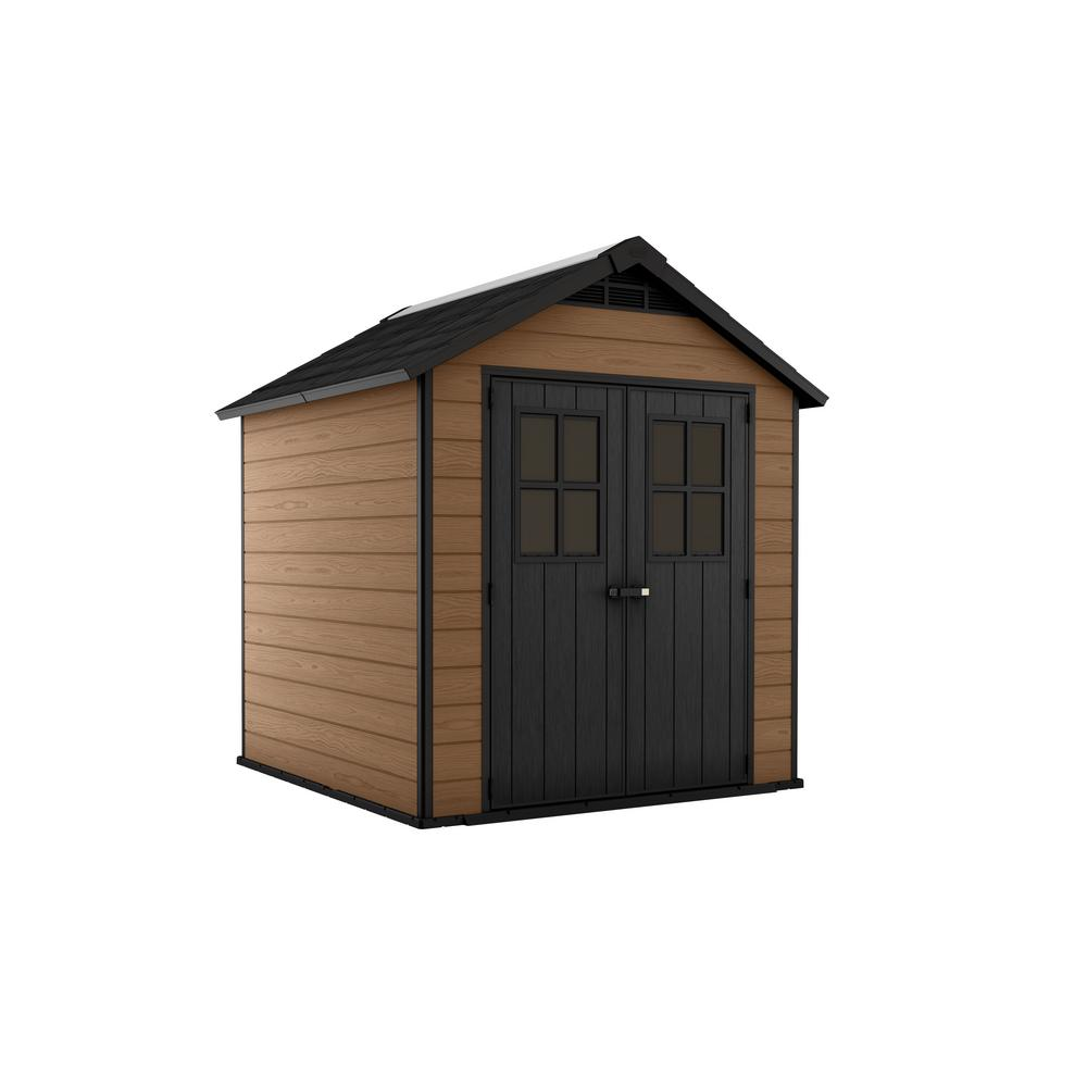 Keter Newton 7.5 ft. x 7 ft. Resin Storage Shed, Browns / Tans -  245114