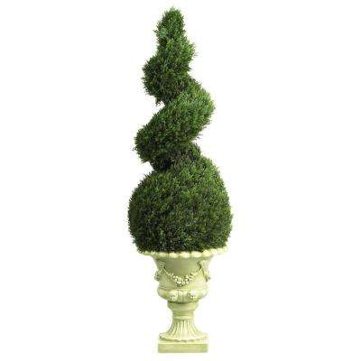 Indoor and Outdoor 4 ft. Cedar Spiral with Decorative Vase