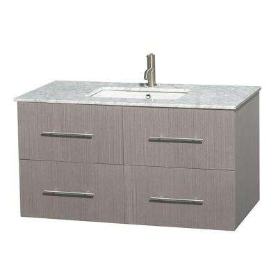 Centra 42 in. Vanity in Gray Oak with Marble Vanity Top in Carrara White and Undermount Sink
