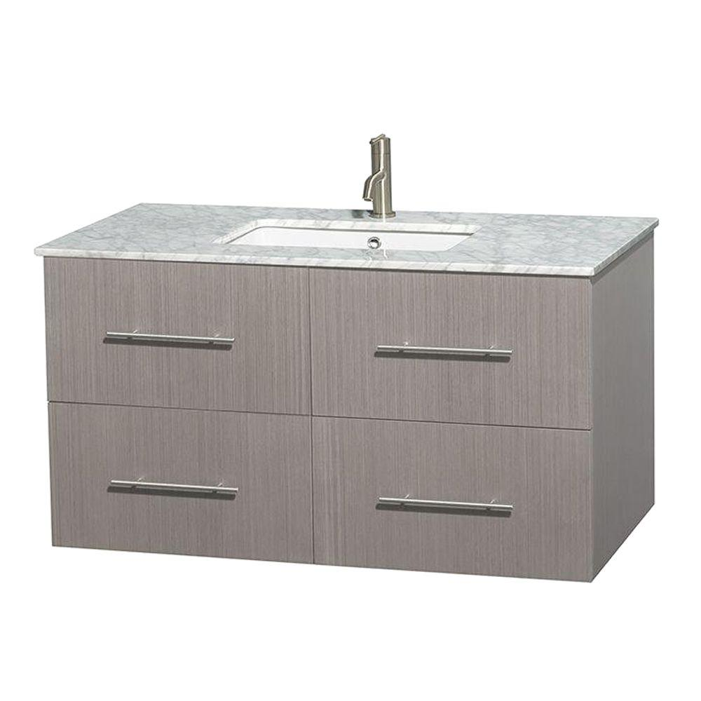 Wyndham Collection Centra In Vanity In Gray Oak With Marble - 42 gray bathroom vanity