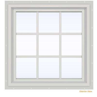 29.5 in. x 29.5 in. V-4500 Series White Vinyl Fixed Picture Window with Colonial Grids/Grilles