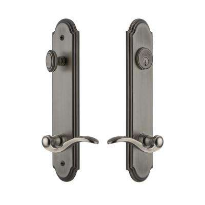 Arc Tall Plate 2-3/4 in. Backset Antique Pewter Door Handleset with Bellagio Door Lever