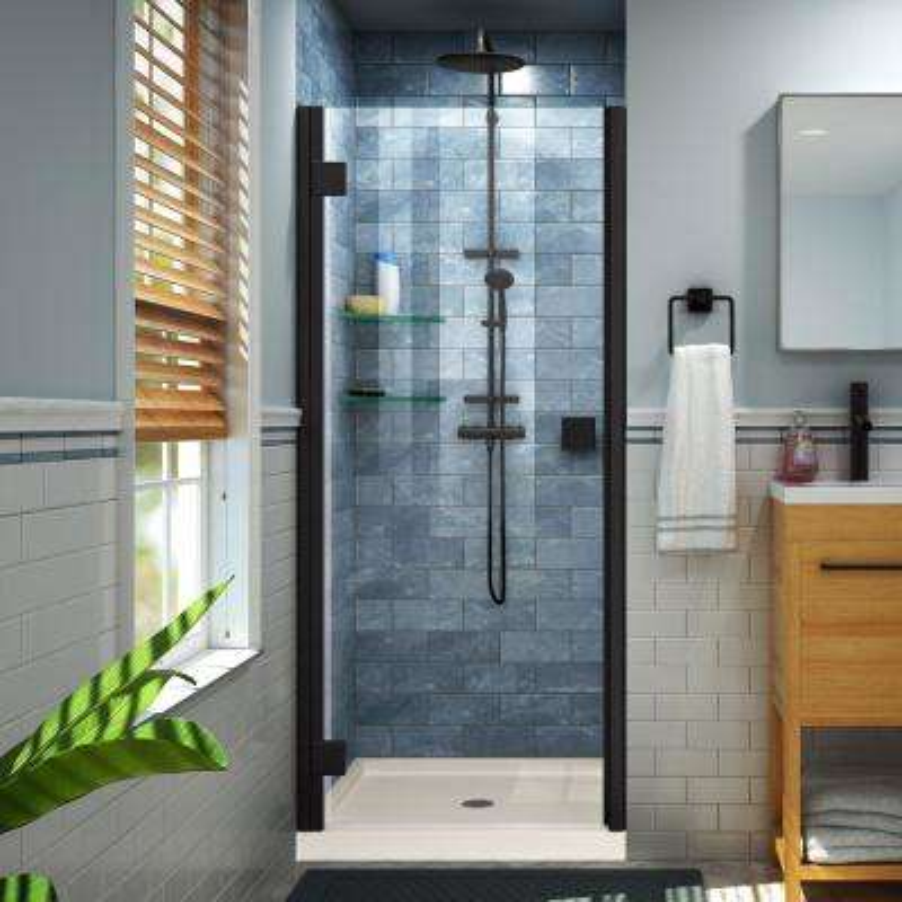 Lumen 42 in. x 72 in. Semi-Frameless Hinged Shower Door in Satin Black with 42 in. x 36 in. Base in Biscuit