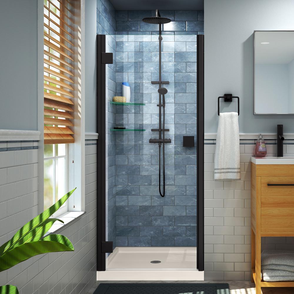 Lumen 42 in. x 72 in. Semi-Frameless Hinged Shower Door in Satin Black with 42 in. x 42 in. Base in Biscuit