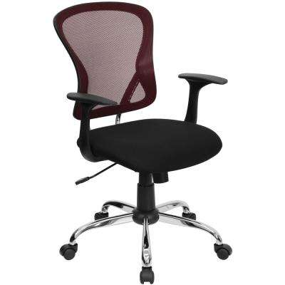 Mid-Back Black and Burgundy Mesh Swivel Task Chair with Mesh Padded Seat and Chrome Base