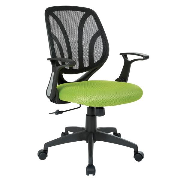 Green Mesh Screen Back Chair with Flip Arms and Silver Accents