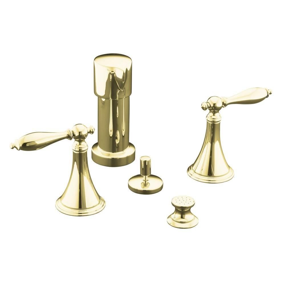 KOHLER Finial 2-Handle Bidet Faucet in Vibrant Polished Brass with Lever Handles and Matching Handle Inserts-DISCONTINUED