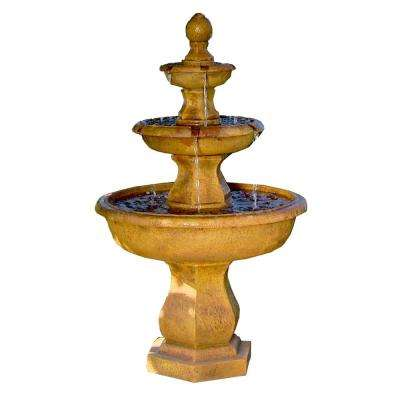 40 in. 3-Tier Tropical Outdoor Water Fountain