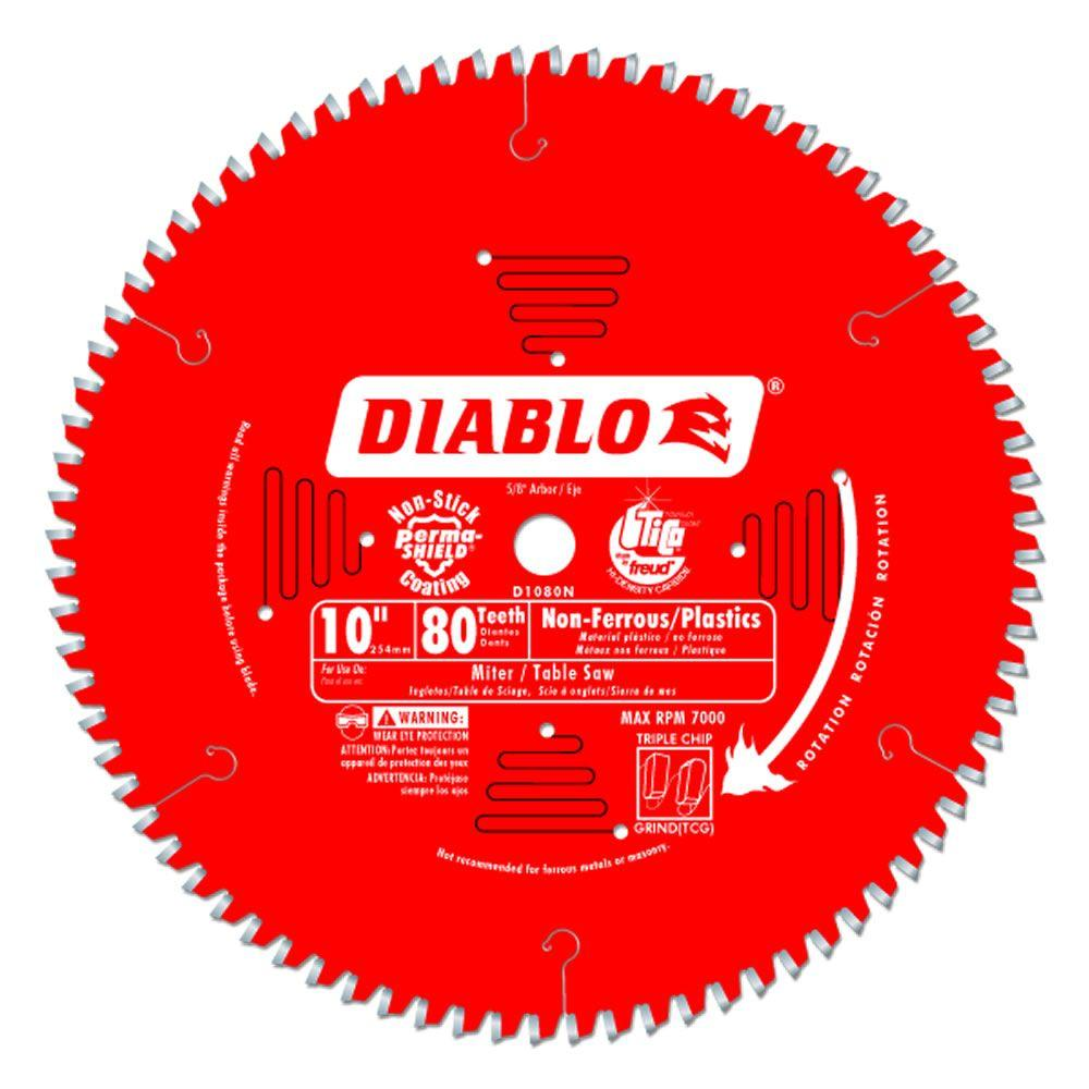 Diablo 7 14 in x 60 tooth fine finish saw blade d0760r the home 10 in x 80 tooth non ferrousplastic cutting saw blade greentooth Image collections