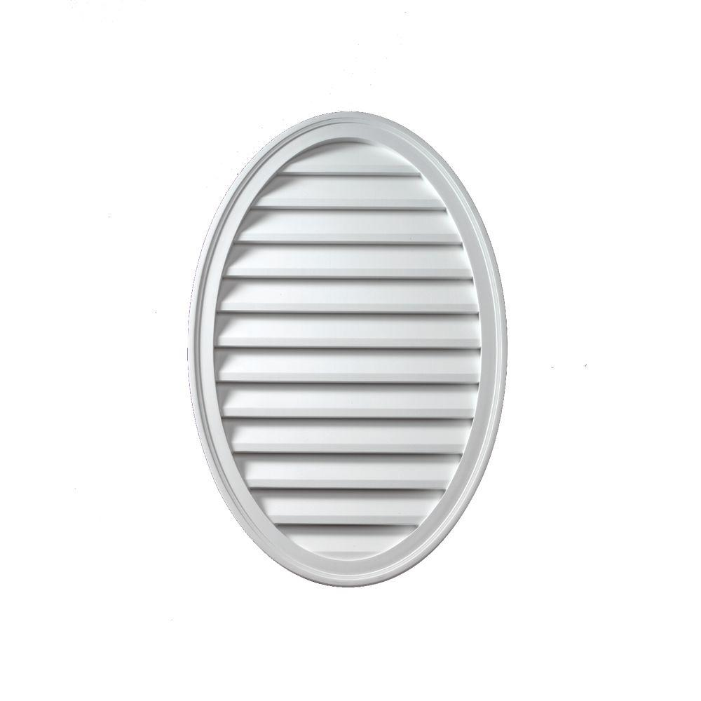Fypon 12 in. x 24 in. x 1-5/8 in. Polyurethane Functional Oval Vertical Louver Gable Vent