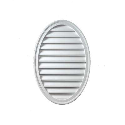 18 in. x 24 in. x 1-5/8 in. Polyurethane Functional Oval Vertical Louver Gable Vent