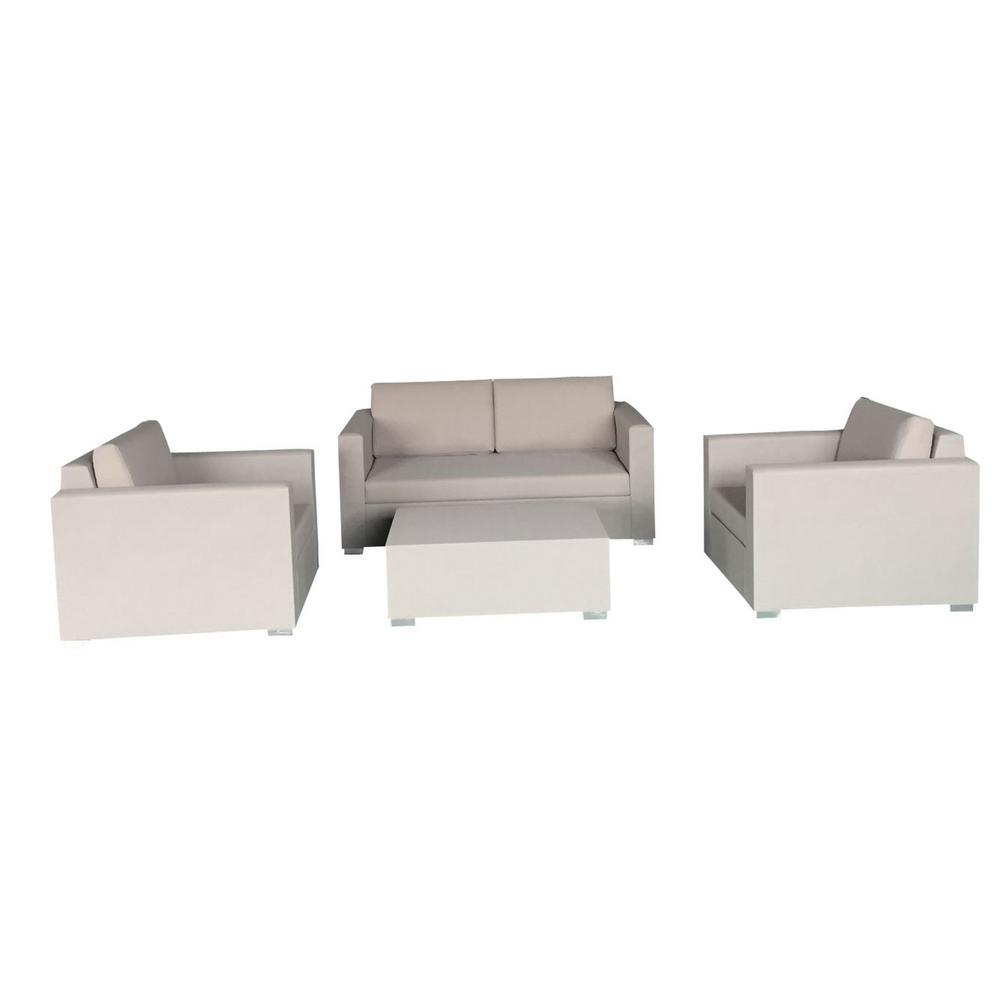 Arete Beige Textilene Conversation Set Beige Cushions