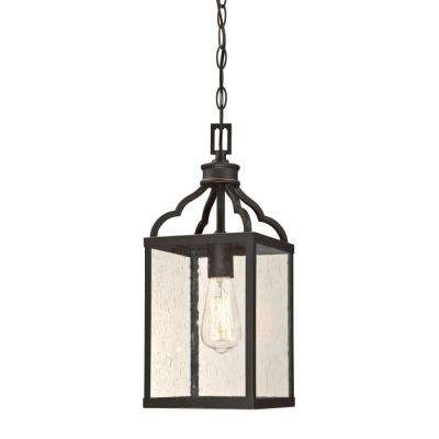 Cardinal Oil Rubbed Bronze 1-Light with Highlights Outdoor Hanging Pendant