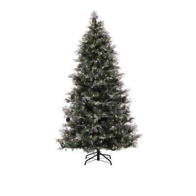 7.5 ft. Feel Real Frosted Mountain Spruce Tree with 550 Warm White Lights