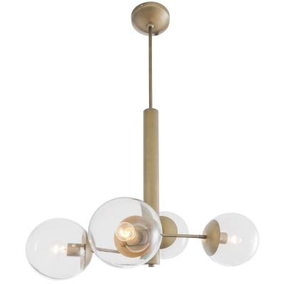 Rogue Decor Mid-Century 4-Light Antique Brass Chandelier with Clear Glass