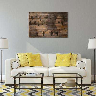 "36 in. x 24 in. ""Wired Birds"" Arte de Legno Digital Print on Solid Wood Wall Art"