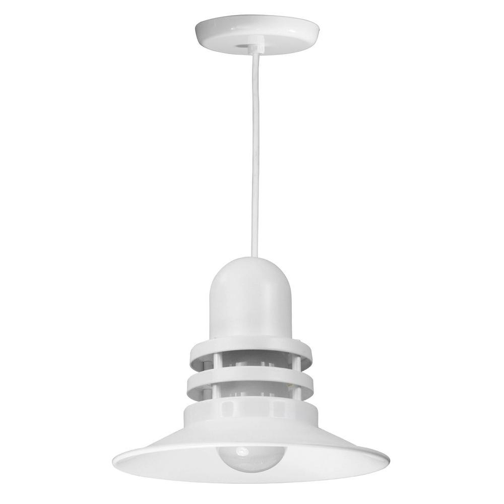 1-Light White Orbitor Shade Pendant with Frosted Glass and Wire Guard