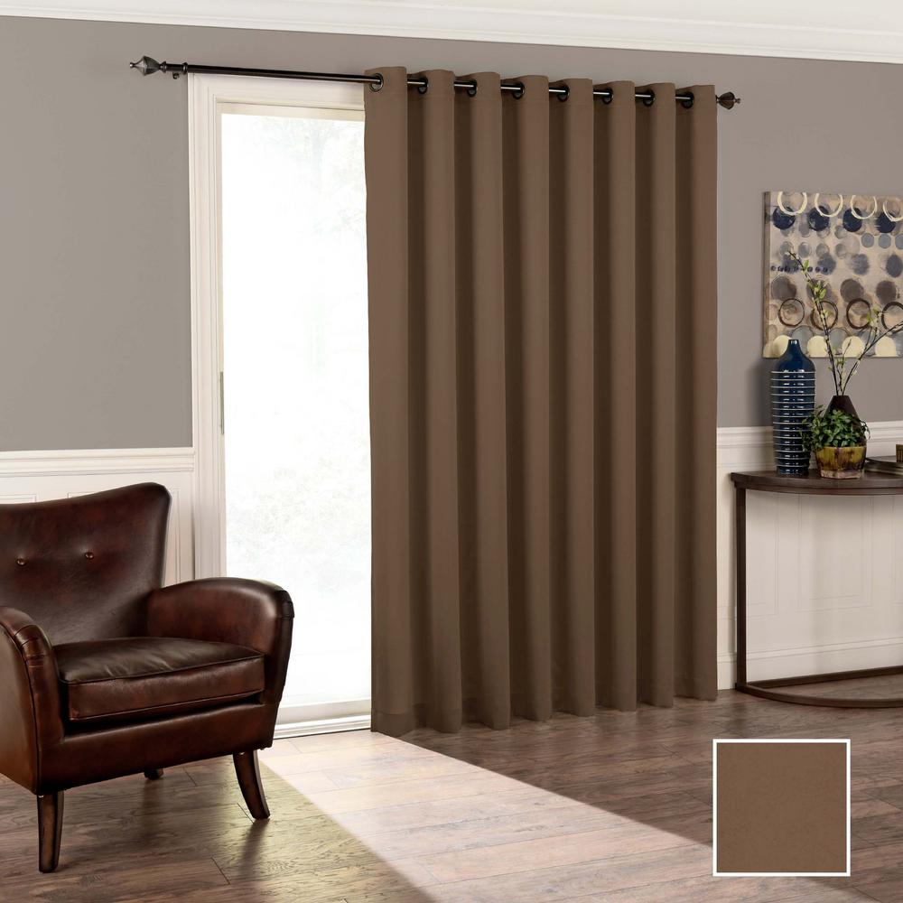 Eclipse Tricia 84 in. L Polyester Grommet Curtain in Espresso (1-Pack)